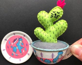 CaTcus in vintage toy tin litho cup - vintage Ohio Art tea cup - cactus cat plushie in vintage planter, original art by HibouDesigns