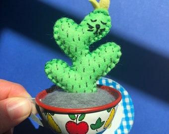 cup repurposed as a planter - cactus cat plushie -original art by HibouDesigns
