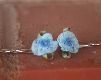 Pretty Blue Bow Peep Flower Hair Pins Set of Two Flower Girl