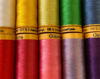 GUTERMANN Thread. Cotton 50 wt.Spring Colors.Quilting.Sewing.Quality Threads.110 yards.Egyptian Cotton.Knot and Nep free with very low lint!
