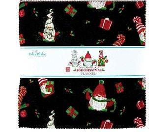 Gnome for Christmas.Layer Cake.Tara Reed.Riley Blake.42=10 x 10 FLANNEL Squares.Pre-Cut Fabric.Winter Prints.Retro Holiday Prints