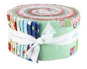 Christmas Adventure.Jelly Roll.Beverly McCullough.Riley Blake.40 2-1/2 x 42 inch strips.Pre-Cut Fabric.Winter Prints.Retro Holiday Prints