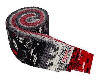 Wild at Heart.Jelly Roll.Riley Blake.2-1/2 Strips.Precut Fabric.40 piece.Winter Prints.Buffalo Check.Red.Black and White.Outdoor Prints