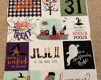 Hocus Pocus.Panel 24x42 inches.Riley Blake.Witches.Bats.Brooms.Halloween Prints.Pumpkins.Purple and Black