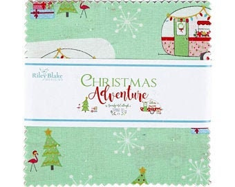 Christmas Adventure.Charm Pack.Beverly McCullough.Riley Blake.42=5 x 5 Squares.Pre-Cut Fabric.Winter Prints.Retro Holiday Prints