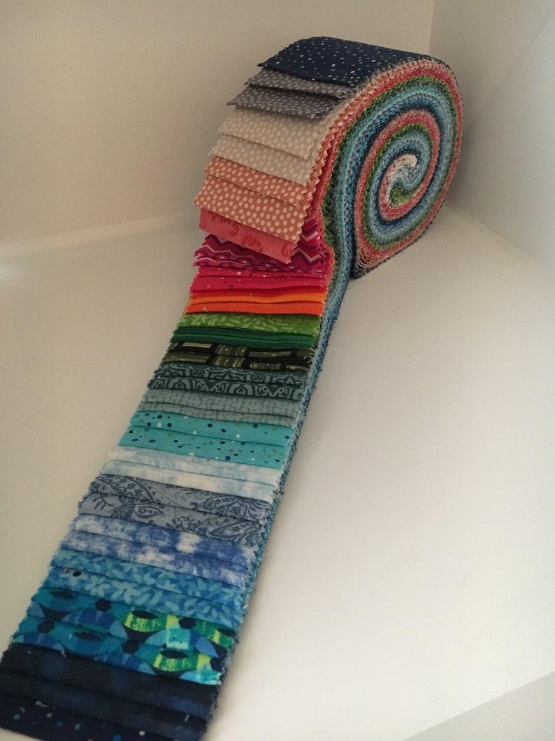 Precut Fabrics 40 piece Rainbow Colors Vivid Brights Hot Pink Colonial Library Neon Orange Benartex Jelly Roll 2-12 Strips