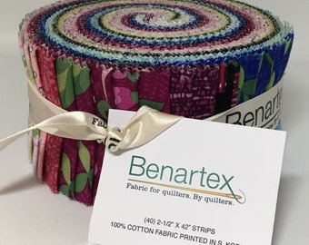 Club 21 Variety Pack. Benartex. Jelly Roll. Precut 2-1/2 Strips, 40 piece. Florals.Abstract.Greens.Blues.Burgandy.Yellow.Pink