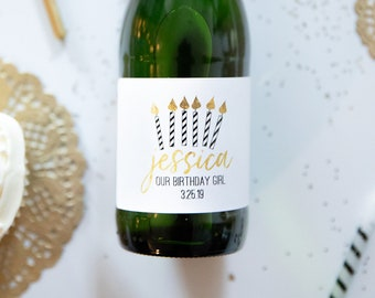 Black and Gold Birthday Candles // Mini Champagne Bottle Labels //  Custom Wine Labels // Birthday Girl