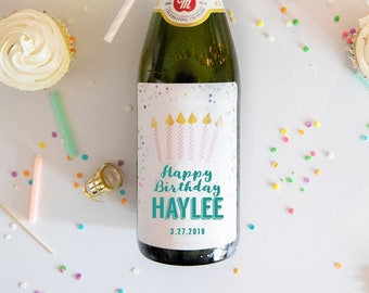 Confetti and Candle Birthday // Mini Champagne Bottle Labels //  Custom Wine Labels for a Birthday // Pick Your Color