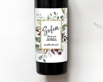 Organic Florals Burst   Bridesmaid Wedding Label   Mini Champagne Bottle Labels   Custom Wine Labels