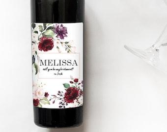 Deep Florals   Bridesmaid Wedding Label   Mini Champagne Bottle Labels   Custom Wine Labels