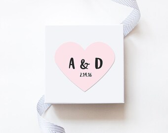 Couple's Initials and Date Wedding Favor Stickers  - Custom Labels // Heart Shaped Sticker
