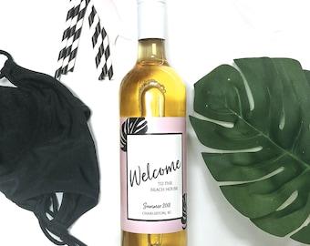Mini Champagne Bottle Labels   Custom Wine Labels   Black Stripes   Tropical Leaf   Getaway   Bachelorette Party   Girls Trip