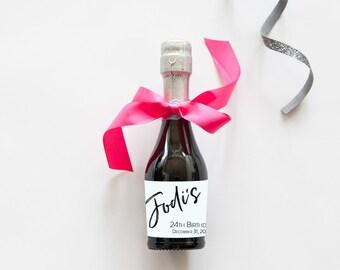 Birthday Simplicity Mini Champagne Bottle Labels   Birthday Wine Labels   30th, 40th, 50th Any Birthday!