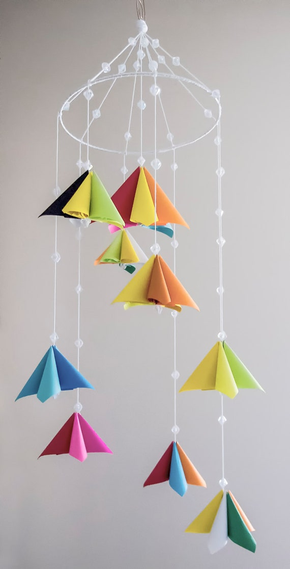 Origami kusudama small pastel flower mobile with 9 small mightylinksfo