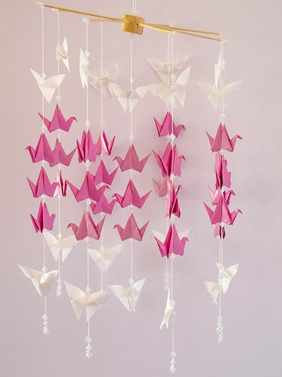 Origami Mobile 24 Cranes And 16 Butterflies For The Cure Etsy