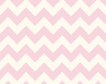 SUMMER SALE - Le Creme Basics - Medium Chevron Stripe on Cream in Baby Pink - C640-75 - 1 Yard - Riley Blake Designs