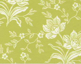 SALE - 3 yards 108 Wide - Woodcut Floral in Green - 11175 16 - Fig Tree Quilts for Moda Fabrics