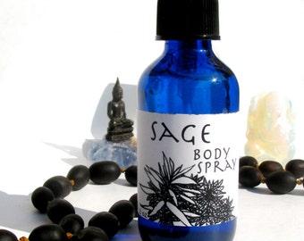 sage body spray, facial toner, aftershave, deodorant, room spray, linen spray, cooling mist