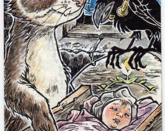 Magical Lullabies ACEO Art Block Ferret Baby Child Crow Canvas Cloth Print by Kevin King