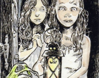 The Thing in the Hallway ACEO ATC Girls Ghosts Spooky Illustration Drawing Print