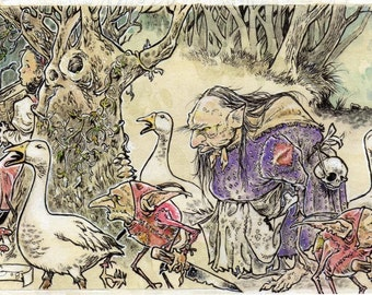 Anne-Lise and The Goose Witch SFA Drawing Illustration Canvas Print 4 X 6