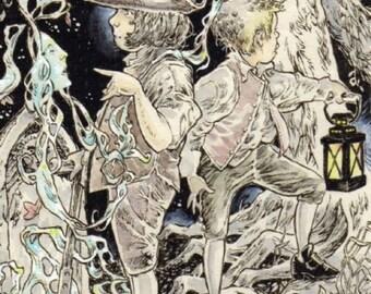 The Cramp Ring SFA 4 X 6 Art Ghost Children Illustration Drawing Print