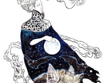 Pavor Nocturnus Illustration Drawing by Kevin King Fantasy Canvas Print Art 8 X 10