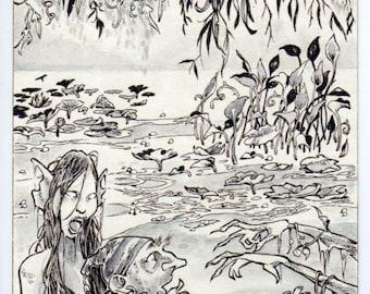 Water Nymph SFA 4 X 6 Art Illustration Drawing Fairy Spooky Creepy Fantasy Canvas Cloth Print