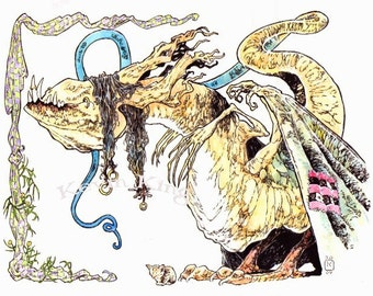 Fen Fergal the Dangerous Dergal 8 X 10 Art Fantasy Drawing Illustration Print in Canvas Cloth