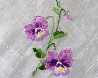 Vintage Purple Pansy Flowers Embroidered Hankie, Made in Switzerland, NEW