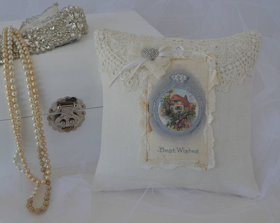 "Wedding Ring Bearer Pillow ""Best Wishes"""