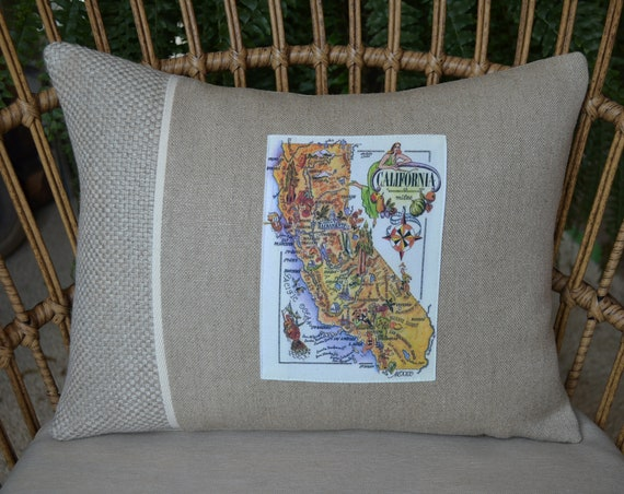 Vintage French California Map Pillow (available in 3 styles and 2 sizes)