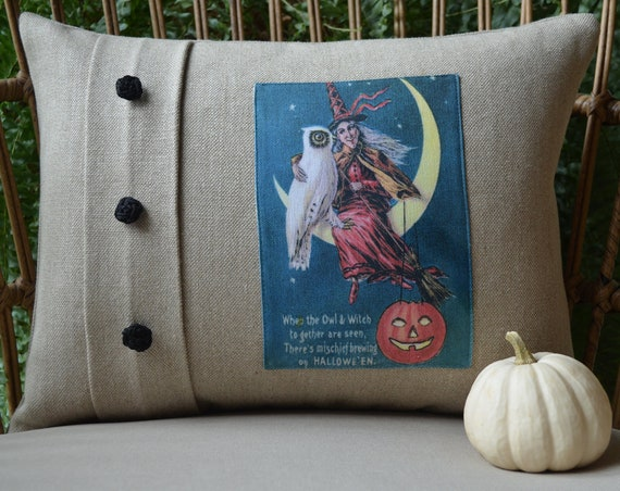 Owl and Witch Halloween Pillow