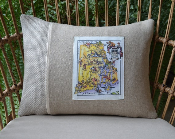 Vintage Rhode Island Map Pillow (available in 3 styles and 2 sizes)