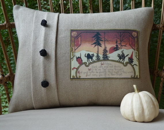 Witches and Black Cats Halloween Pillow