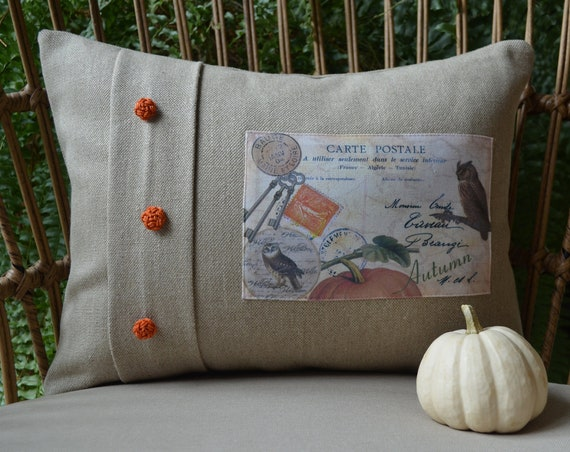 Autumn and Fall Pumpkin Owl Pillow