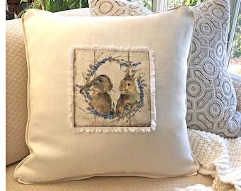 Bunny Wreath Pillow