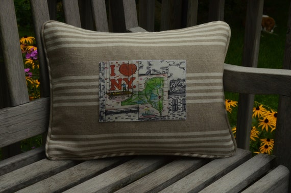 I Love New York Postcard Pillow