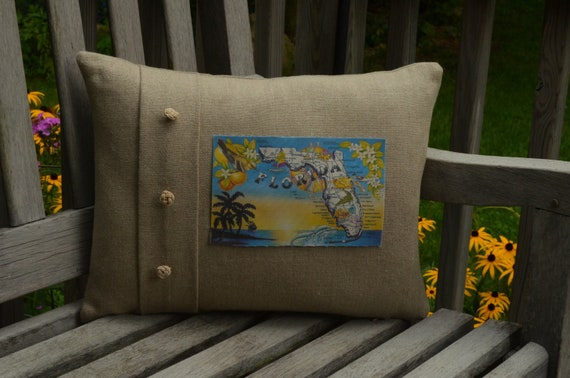 Florida Palm Trees Postcard Pillow  (available in 3 styles and 2 prices)