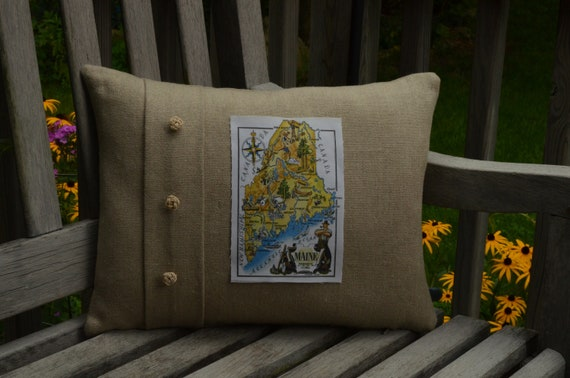 Vintage Maine Map Pillow