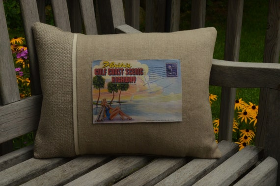 Florida's Gulf Coast Postcard Pillow