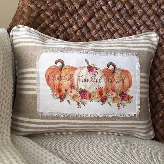 Grateful, Thankful, Blessed Pumpkin Pillow