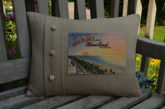 Miami and Miami Beach Florida Pillow