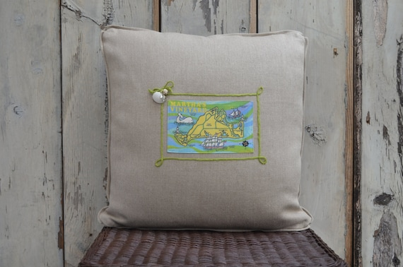 Martha's Vineyard Island Postcard Pillow