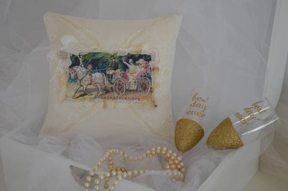 "Wedding Ring Bearer Pillow ""The Proposal"""