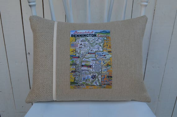 Bennington Vermont Postcard Pillow (available in 3 styles and 2 prices)
