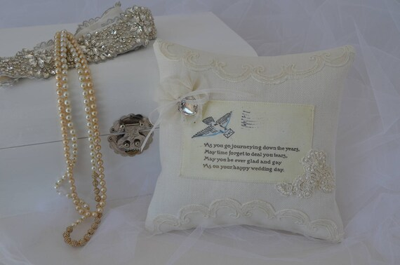 "Wedding Ring Bearer Pillow ""Journeying Down the Years"""