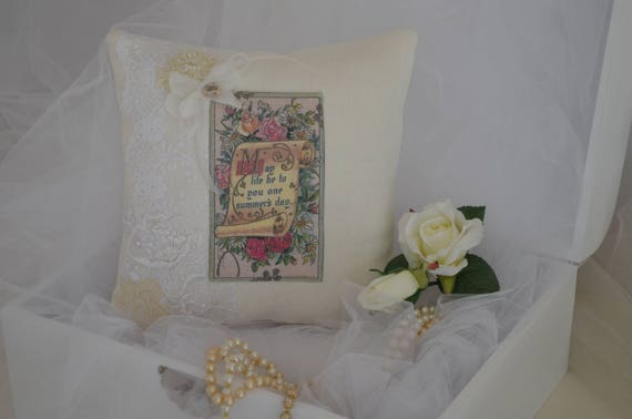 "Wedding Ring Bearer Pillow ""One Summer's Day"""