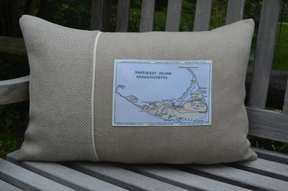 Nantucket Map Postcard Pillow  (available in 3 styles and 2 prices)